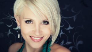 Picture of a young woman with platinum blonde hair